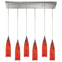 Lungo 6 Light 30 inch Satin Nickel Pendant Ceiling Light in Fire Red Glass