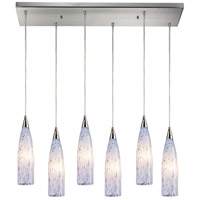 Lungo 6 Light 30 inch Satin Nickel Pendant Ceiling Light in Snow White Glass