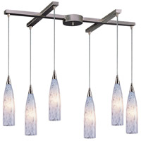 ELK 501-6SW Lungo 6 Light 17 inch Satin Nickel Pendant Ceiling Light in Snow White Glass, Incandescent, Light Bar