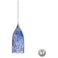 Verona 1 Light 5 inch Satin Nickel Pendant Ceiling Light in Incandescent, Starburst Blue Glass, Recessed Adapter Kit