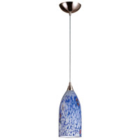 Verona LED 5 inch Satin Nickel Pendant Ceiling Light in Starburst Blue Glass, Standard