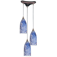 Verona 3 Light 13 inch Satin Nickel Pendant Ceiling Light in Starburst Blue Glass