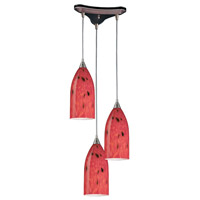 ELK 502-3FR Verona 3 Light 13 inch Satin Nickel Pendant Ceiling Light in Fire Red Glass photo thumbnail