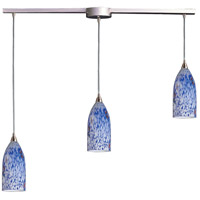 ELK 502-3L-BL Verona 3 Light 36 inch Satin Nickel Pendant Ceiling Light in Starburst Blue Glass photo thumbnail