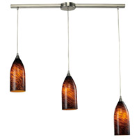 Verona 3 Light 36 inch Satin Nickel Pendant Ceiling Light in Espresso Glass
