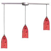 Verona 3 Light 36 inch Satin Nickel Pendant Ceiling Light in Fire Red Glass