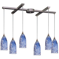 Verona 6 Light 33 inch Satin Nickel Pendant Ceiling Light in Starburst Blue Glass