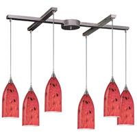 Verona 6 Light 33 inch Satin Nickel Pendant Ceiling Light in Fire Red Glass