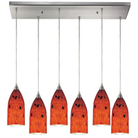 ELK 502-6RC-FR Verona 6 Light 30 inch Satin Nickel Pendant Ceiling Light in Fire Red Glass photo thumbnail