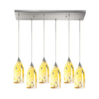 Verona 6 Light 30 inch Satin Nickel Pendant Ceiling Light in Yellow Blaze Glass