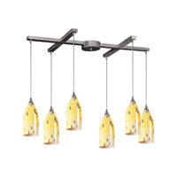 ELK 502-6YW Verona 6 Light 33 inch Satin Nickel Pendant Ceiling Light in Yellow Blaze Glass photo thumbnail