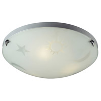 ELK 5088/3 Novelty 3 Light 16 inch Satin Nickel Flush Mount Ceiling Light in Triangular Canopy, Celestial Sky Motif