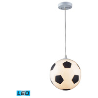 ELK 5123/1-LED Novelty LED 10 inch Silver Mini Pendant Ceiling Light, Soccer Ball Motif