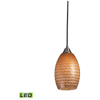 Mulinello LED 6 inch Satin Nickel Pendant Ceiling Light in Cocoa Glass, Standard