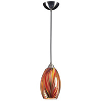 Mulinello LED 6 inch Satin Nickel Pendant Ceiling Light in Multi Glass, Standard