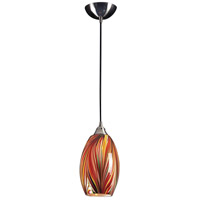 Mulinello 1 Light 6 inch Satin Nickel Pendant Ceiling Light in Incandescent, Multi Glass, Standard