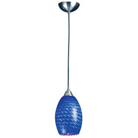Mulinello LED 6 inch Satin Nickel Pendant Ceiling Light in Sapphire Glass, Standard