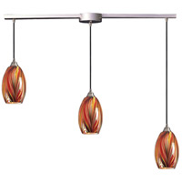 Mulinello 3 Light 36 inch Satin Nickel Pendant Ceiling Light in Multi Glass