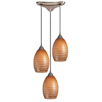 Mulinello 3 Light 10 inch Satin Nickel Pendant Ceiling Light in Cocoa Glass