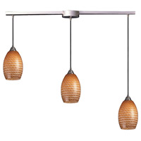 Mulinello 3 Light 36 inch Satin Nickel Pendant Ceiling Light in Cocoa Glass