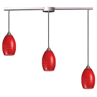 ELK 517-3L-SC Mulinello 3 Light 5 inch Satin Nickel Mini Pendant Ceiling Light in Scarlet Red Glass, Incandescent, Linear with Recessed Adapter, Linear