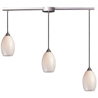 ELK 517-3L-WS Mulinello 3 Light 5 inch Satin Nickel Mini Pendant Ceiling Light in White Swirl Glass, Incandescent, Linear with Recessed Adapter, Linear