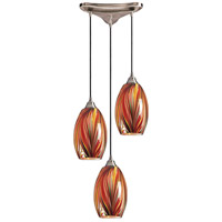 ELK 517-3M Mulinello 3 Light 10 inch Satin Nickel Pendant Ceiling Light in Multi Glass, Incandescent, Triangular Canopy