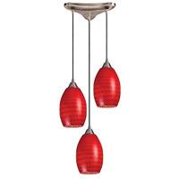 Mulinello 3 Light 10 inch Satin Nickel Pendant Ceiling Light in Scarlet Red Glass