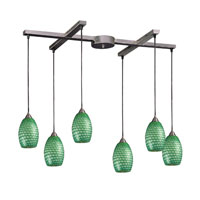 Mulinello 6 Light 33 inch Satin Nickel Pendant Ceiling Light in Jade Glass