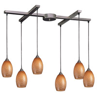 Mulinello 6 Light 33 inch Satin Nickel Pendant Ceiling Light in Cocoa Glass