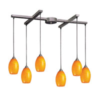 Mulinello 6 Light 33 inch Satin Nickel Pendant Ceiling Light in Canary Glass