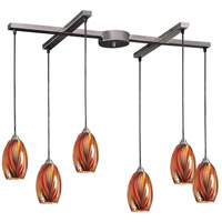 ELK 517-6M Mulinello 6 Light 17 inch Satin Nickel Pendant Ceiling Light in Multi Glass, Incandescent, Light Bar