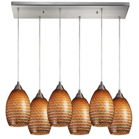 Mulinello 6 Light 30 inch Satin Nickel Pendant Ceiling Light in Cocoa Glass