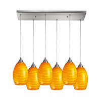 Mulinello 6 Light 30 inch Satin Nickel Pendant Ceiling Light in Canary Glass