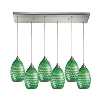 Mulinello 6 Light 30 inch Satin Nickel Pendant Ceiling Light in Jade Glass
