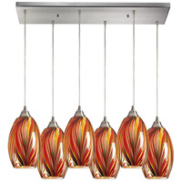 Mulinello 6 Light 30 inch Satin Nickel Pendant Ceiling Light in Multi Glass