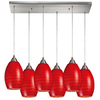 Mulinello 6 Light 30 inch Satin Nickel Pendant Ceiling Light in Scarlet Red Glass