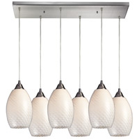 Mulinello 6 Light 30 inch Satin Nickel Pendant Ceiling Light in White Swirl Glass