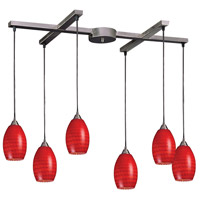Mulinello 6 Light 33 inch Satin Nickel Pendant Ceiling Light in Scarlet Red Glass