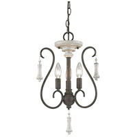 ELK 52020/3 Porto Cristo 3 Light 14 inch Birtch/Palermo Rust Chandelier Ceiling Light