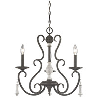 ELK 52021/3 Porto Cristo 3 Light 20 inch Birtch with Palermo Rust Chandelier Ceiling Light