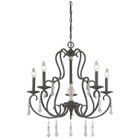 Porto Cristo 5 Light 28 inch Palermo Rust with Birch Chandelier Ceiling Light