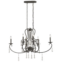 ELK 52023/6 Porto Cristo 6 Light 42 inch Birtch with Palermo Rust Chandelier Ceiling Light