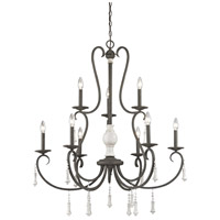Porto Cristo 9 Light 37 inch Palermo Rust with Birch Chandelier Ceiling Light