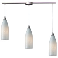 ELK 522-3L-WS Cilindro 3 Light 36 inch Satin Nickel Linear Pendant Ceiling Light in White Swirl Glass, Incandescent, Linear with Recessed Adapter