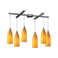 Cilindro 6 Light 33 inch Satin Nickel Pendant Ceiling Light in Canary Glass