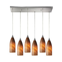 Cilindro 6 Light 30 inch Satin Nickel Pendant Ceiling Light in Cocoa Glass