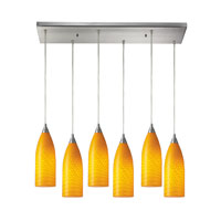 Cilindro 6 Light 30 inch Satin Nickel Pendant Ceiling Light in Canary Glass
