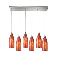 Cilindro 6 Light 30 inch Satin Nickel Pendant Ceiling Light in Multi Glass