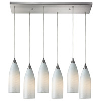 Cilindro 6 Light 30 inch Satin Nickel Pendant Ceiling Light in White Swirl Glass
